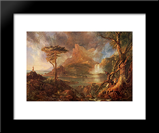 A Wild Scene: Modern Black Framed Art Print by Thomas Cole