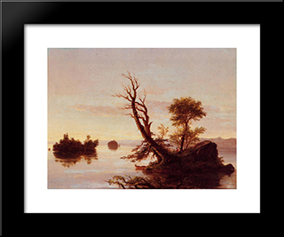 American Lake Scene: Modern Black Framed Art Print by Thomas Cole