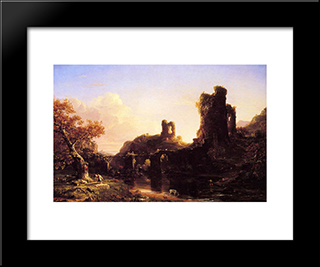 An Italian Autumn: Modern Black Framed Art Print by Thomas Cole