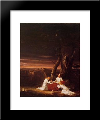 Angels Ministering To Christ In The Wilderness: Modern Black Framed Art Print by Thomas Cole