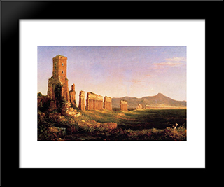 Aqueduct Near Rome: Modern Black Framed Art Print by Thomas Cole