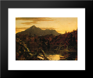 Autumn Twilight View Of Copway Peak (Mount Chocorua, New Hampshire): Modern Black Framed Art Print by Thomas Cole