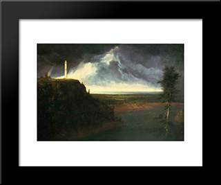 Brock`S-Monument: Modern Black Framed Art Print by Thomas Cole