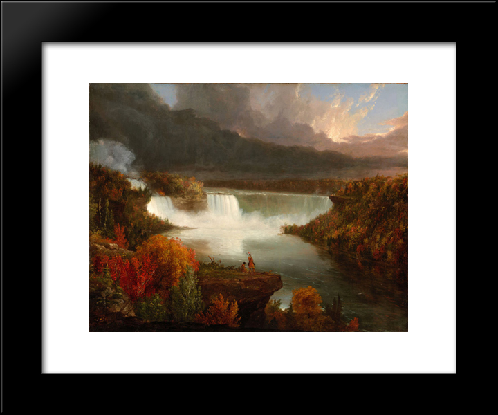 Distant View Of Niagara Falls: Modern Black Framed Art Print by Thomas Cole