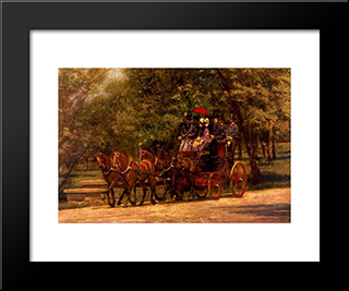 A May Morning In The Park ( The Fairman Robers Four In Hand): Modern Black Framed Art Print by Thomas Eakins