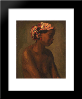 A Negress: Modern Black Framed Art Print by Thomas Eakins