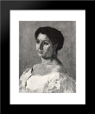A Spanish Woman: Modern Black Framed Art Print by Thomas Eakins