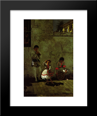 A Street Scene In Sevilla: Modern Black Framed Art Print by Thomas Eakins