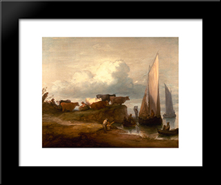 A Coastal Landscape: Modern Black Framed Art Print by Thomas Gainsborough