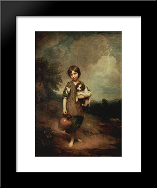 A Peasant Girl With Dog And Jug: Modern Black Framed Art Print by Thomas Gainsborough