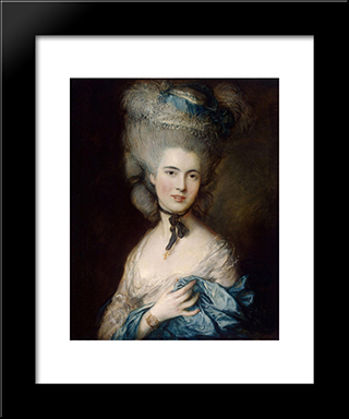 A Woman In Blue (Portrait Of The Duchess Of Beaufort): Modern Black Framed Art Print by Thomas Gainsborough