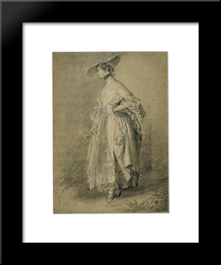 A Woman With A Rose: Modern Black Framed Art Print by Thomas Gainsborough