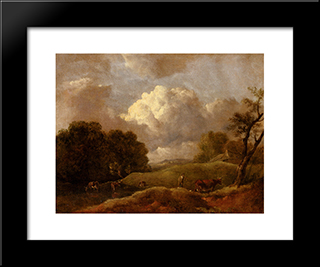 An Extensive Landscape With Cattle And A Drover: Modern Black Framed Art Print by Thomas Gainsborough