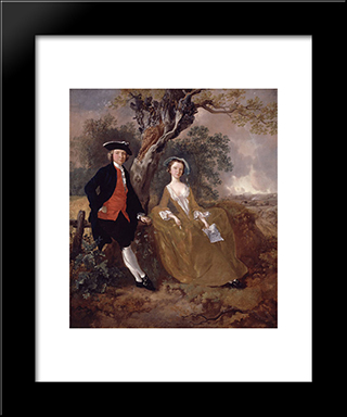 An Unknown Couple In A Landscape: Modern Black Framed Art Print by Thomas Gainsborough