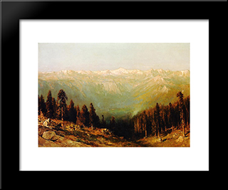 A View Of The Hetch Hetchy Valley With Deer In The Foreground And Mount Conness In The Distance: Modern Black Framed Art Print by Thomas Hill