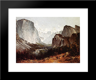 A View Of Yosemite Valley: Modern Black Framed Art Print by Thomas Hill