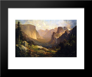 A View Up Yosemite Valley: Modern Black Framed Art Print by Thomas Hill