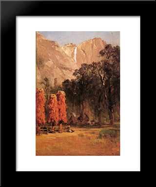 Acorn Granaries, By Piute Indian Camp In Yosemite: Modern Black Framed Art Print by Thomas Hill