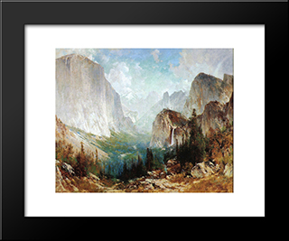 After The Storm, Yosemite Valley: Modern Black Framed Art Print by Thomas Hill