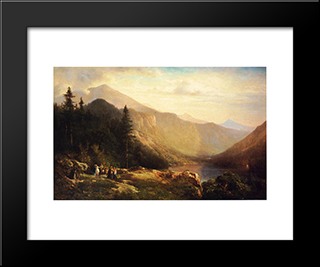 An Artist'S View Of Mt. Lafayette: Modern Black Framed Art Print by Thomas Hill