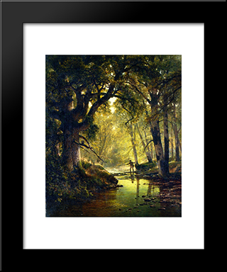 Angler In A Forest Interior: Modern Black Framed Art Print by Thomas Hill