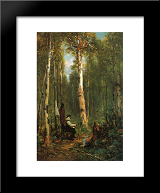 Artist At His Easel In The Woods: Modern Black Framed Art Print by Thomas Hill