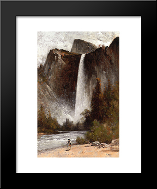 At The Foot Of Bridal Veil: Modern Black Framed Art Print by Thomas Hill