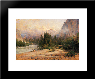 Bow River Gap At Banff, On Canadian Pacific Railroad: Modern Black Framed Art Print by Thomas Hill