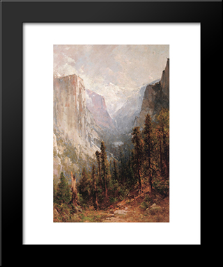 El Capitan With Clouds Rest Beyond, Yosemite: Modern Black Framed Art Print by Thomas Hill