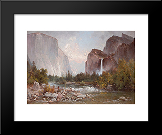 Fishing In The Yosemite Valley: Modern Black Framed Art Print by Thomas Hill