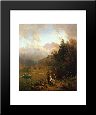Fishing Party In The Mountains: Modern Black Framed Art Print by Thomas Hill