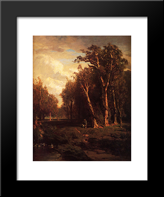 Hunter With Dog Jumping A Flock: Modern Black Framed Art Print by Thomas Hill