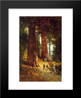 In The Redwoods: Modern Black Framed Art Print by Thomas Hill