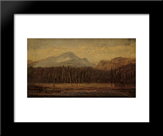 Landscape With A Frontier House: Modern Black Framed Art Print by Thomas Hill
