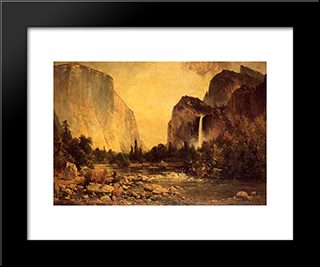 Lone Fisherman In Yosemite: Modern Black Framed Art Print by Thomas Hill