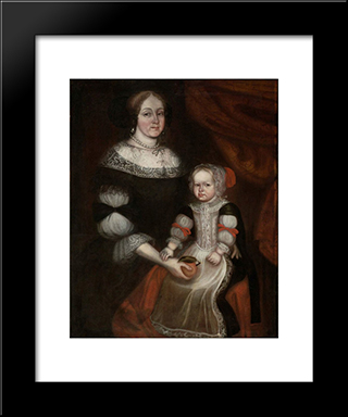 Mrs. Richard Patteshall (Martha Woody) And Child: Modern Black Framed Art Print by Thomas Smith