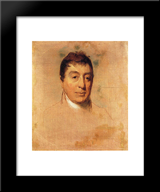 A Life Study Of The Marquis De Lafayette: Modern Black Framed Art Print by Thomas Sully