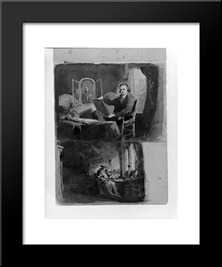 Abraham Francen, The Scholar (From Sketchbook): Modern Black Framed Art Print by Thomas Sully