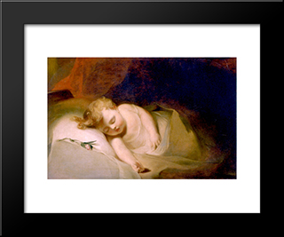 Child Asleep (Also Known As The Rosebud): Modern Black Framed Art Print by Thomas Sully