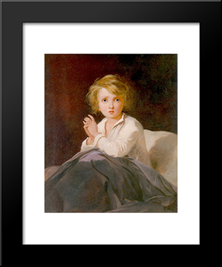 Child In Bed: Modern Black Framed Art Print by Thomas Sully