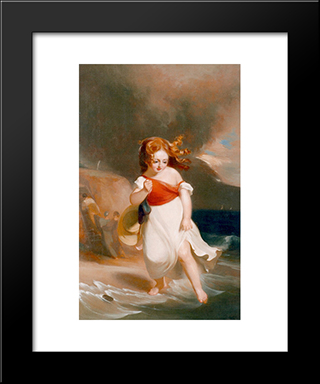 Child On The Sea Side: Modern Black Framed Art Print by Thomas Sully