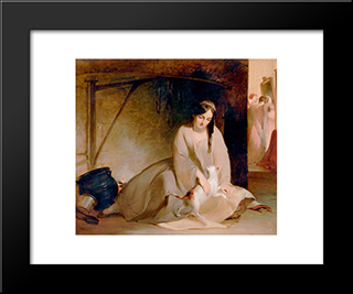 Cinderella At The Kitchen Fire: Modern Black Framed Art Print by Thomas Sully