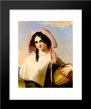 Elizabeth Cook (Mrs. Benjamin Franklin Bache) As The Country Girl: Modern Black Framed Art Print by Thomas Sully