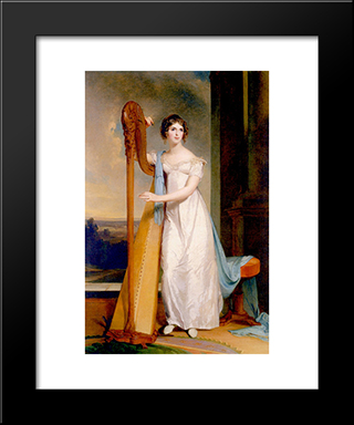 Elizabeth Eichelberger Ridgely (Also Known As Lady With A Harp): Modern Black Framed Art Print by Thomas Sully