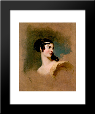 Fanny Kemble As Julia In The Hunchback: Modern Black Framed Art Print by Thomas Sully
