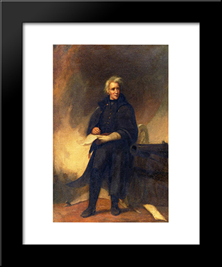 General Jackson After The Battle Of New Orleans: Modern Black Framed Art Print by Thomas Sully