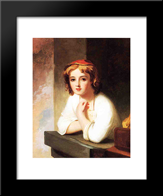 Girl Leaning At A Window: Modern Black Framed Art Print by Thomas Sully