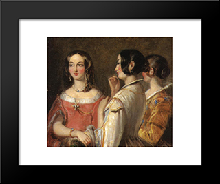 Gossip: Modern Black Framed Art Print by Thomas Sully