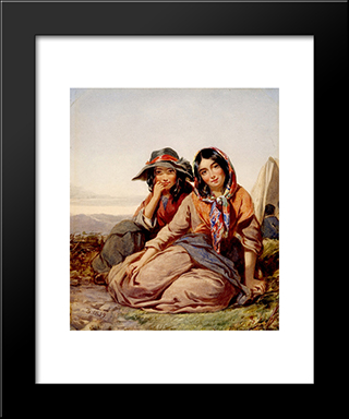 Gypsy Maidens: Modern Black Framed Art Print by Thomas Sully