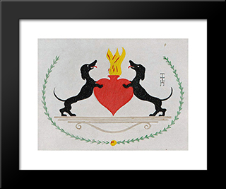 The Two Dachshunds: Custom Black Ornate Gallery Style Framed Art Print by Thomas Theodor Heine